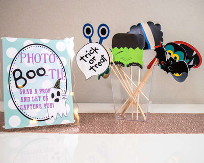 Halloween Party Photo Booth Sign and Props