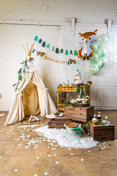 Woodland Adventure Party Setup with Tipi