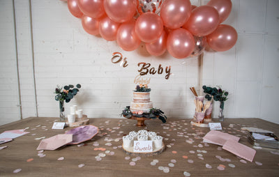 Purple and Rose Gold Baby Shower Setup