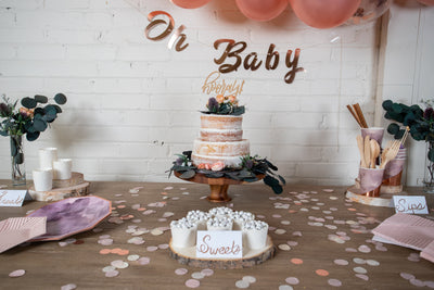 Purple and Rose Gold Baby Shower Dessert Table