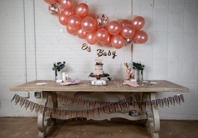 Purple and Rose Gold Baby Shower Decor