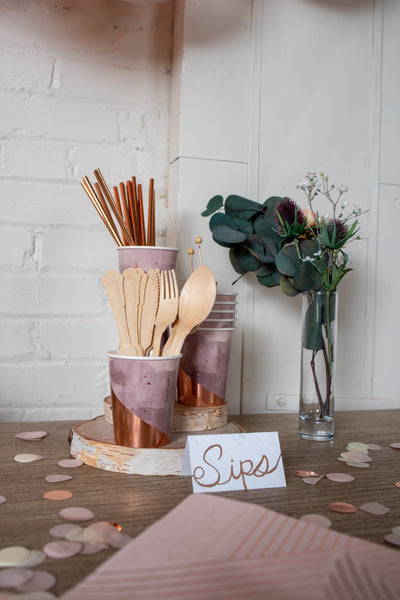 Purple and Rose Gold Foil Cups and Utensils