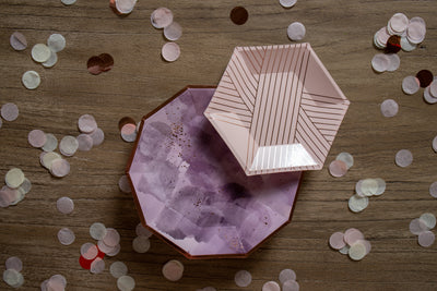 Purple and Rose Gold Foil Party Plates