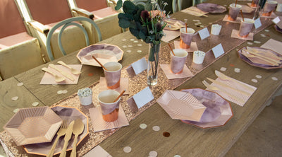 Purple and Rose Gold Party Table Goods