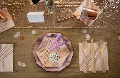 Purple and Rose Gold Party Tableware