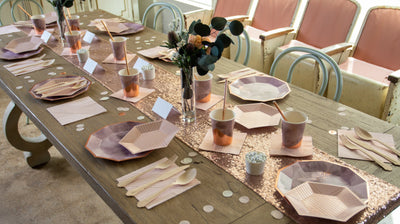 Purple and Rose Gold Table Settings