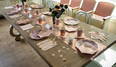 Purple and Rose Gold Party Tablescape