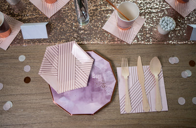 Purple and Rose Gold Party Place Setting