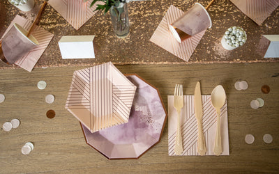 Purple and Rose Gold Foil Place Setting