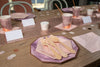 Purple and Rose Gold Party Table Setting