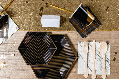 Black Noir and Gold Party Tableware