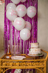 Pink Team Bride Balloons and Hot Pink Fringe Backdrop