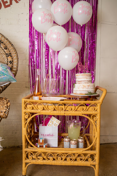 Bachelorette Party Supplies on Bar Cart