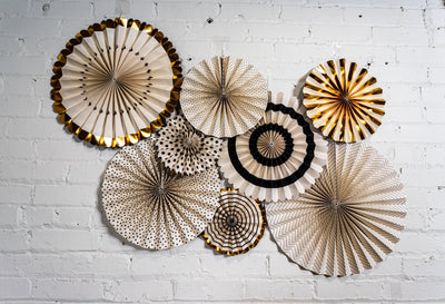 Black White and Gold Decorative Party Fans