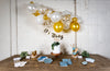 Malibu Blue and Gold Baby Shower Supplies with Balloon Garland