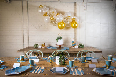 Malibu Blue and Gold Party with Balloon Garland