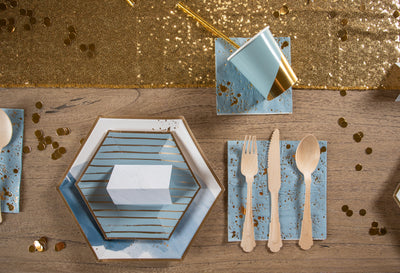 Malibu Blue and Gold Party Table Setting