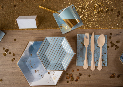 Malibu Blue Watercolor and Gold Foil Party Tableware
