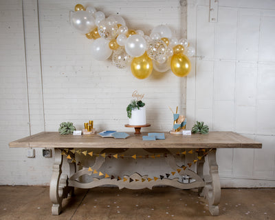 Malibu Blue and Gold Party Decor with Balloon Garland