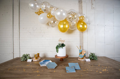 Malibu Blue and Gold Party Tableware and Decor