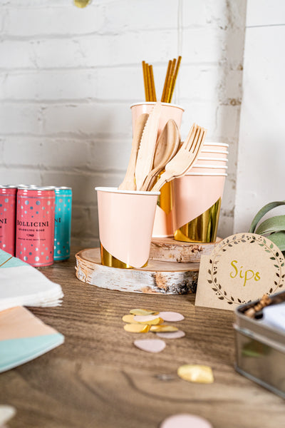 Blush and Gold Foil Party Cups and Utensils