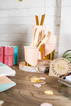 Blush and Gold Foil Party Cups with Utensils