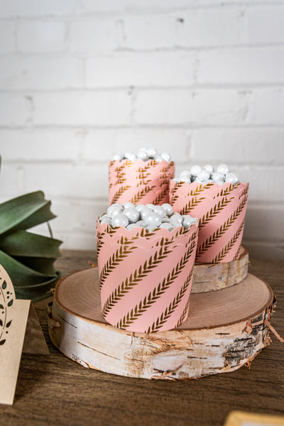 Pink and Gold Leaf Baking Cups