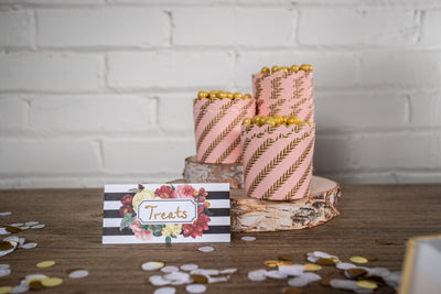 Pink and Gold Leaf Treat Cups with Botanical Place Cards