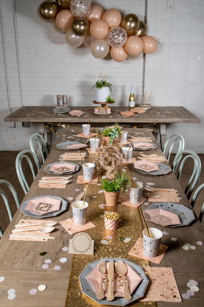 Boho Chic Grey and Peach Party Supplies