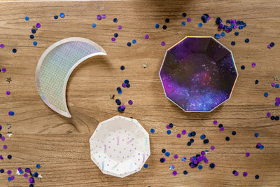 Space Party Plates and Silver Moon Shaped Plate