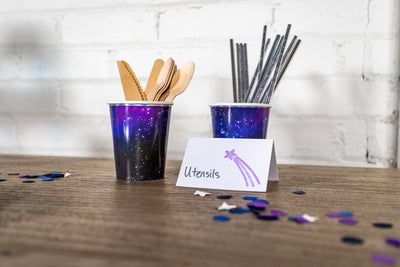 Space Party Cups with Silver Paper Straws and Utensils