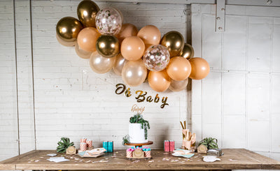 Chic Desert Rose Baby Shower Decor with Balloon Garland