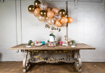 Boho Chic Baby Shower Decor with Balloon Garland