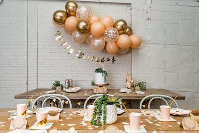 Chic Desert Rose Birthday Party with Balloon Garland