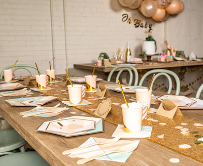 Chic Desert Rose Party Table Setup