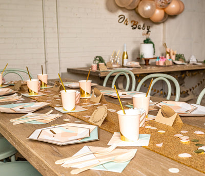 Chic Desert Rose Baby Shower Table Setup