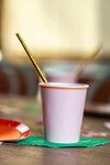 Pink Pastel Party Cup with Gold Foil Paper Straw