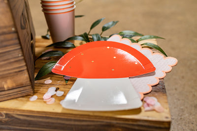 Garden Fairy Party Toadstool Plates with Pink Napkins and Cups
