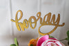 Garden Fairy Party Gold Glitter Hooray Cake Topper