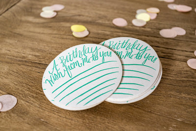 Fill-In Birthday Wishes Letterpress Coasters