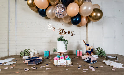 Rose Gold Gender Reveal Dessert Table