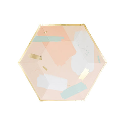 Gold Foil Blush Abstract Party Plate