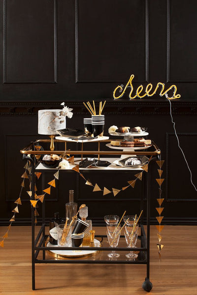 Noir Black and Gold Party Bar Cart