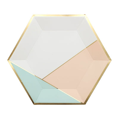 Gold Foil Blush Colorblock Party Plates