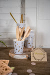 Grey and Peach Boho Party Cups and Utensils