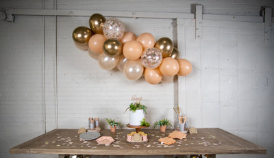 Grey and Peach Boho Party Main Table