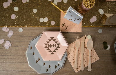 Grey and Peach Boho Party Tableware