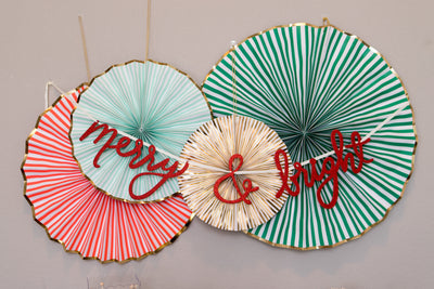 Red Merry and Bright Holiday Party Banner and Decorative Fans