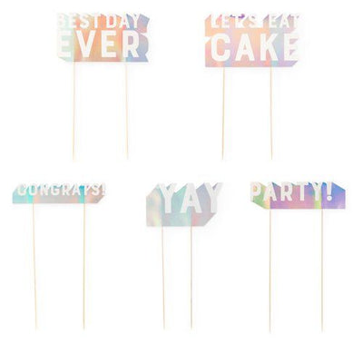 Assorted Sayings Holographic Space Cake Toppers