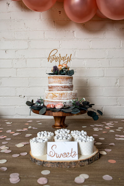Wooden Hooray Cake Topper and Baking Cups